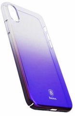 "Пластиковая накладка Baseus Glaze Ultrathin для Apple iPhone X (5.8"") (Фиолетовый / Transparent Purple) (WIAPIPHX-GC01)"