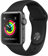 Apple Watch Series 3 GPS 38mm Space Gray Aluminum w. Black Sport B. - Space Gray (MTF02)