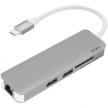 WIWU Adapter T4 USB-C to USB-C+RJ45+SD+2xUSB3.0 HUB Gray (6957815504817)