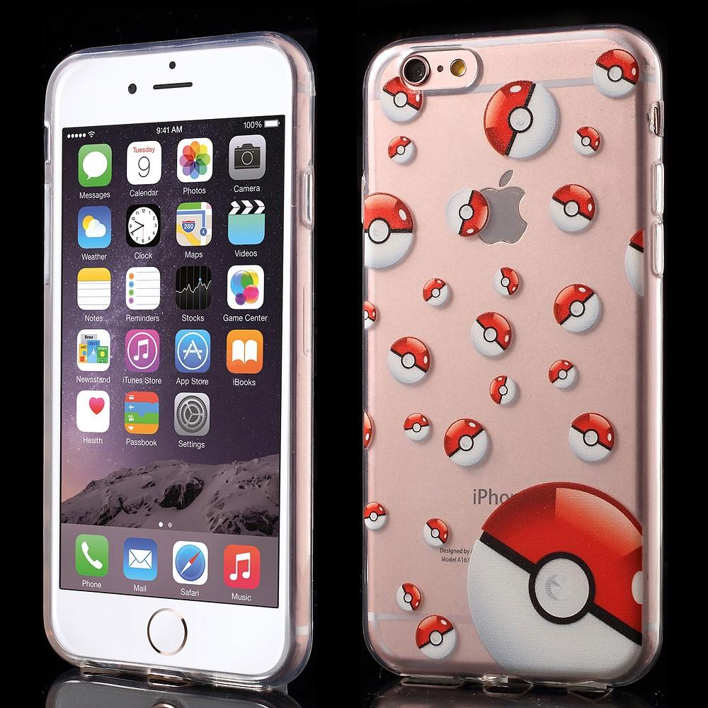 Купить TPU чехол EGGO Pokemon Go для iPhone 6/6S (Poke Balls (прозрачный))