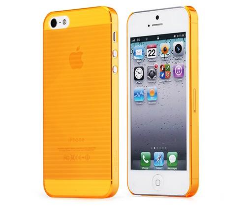 Пластиковая накладка Rock (Texture) Ultra Thin series для Apple iPhone 5/5S (Оранжевый / Transparent)