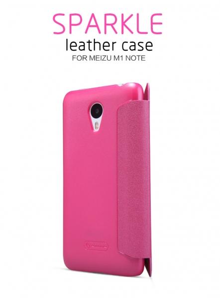 Кожаный чехол (книжка) Nillkin Sparkle Series для Meizu M1 Note (Розовый)