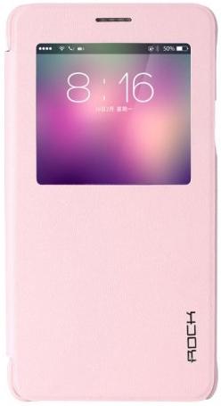 Кожаный чехол (книжка) Rock Uni Series для Samsung N910S Galaxy Note 4 (Розовый / Pink)