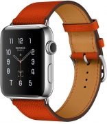 Apple Watch Series 2 Hermes 42mm Stainless Steel Case with Feu Epsom Single Tour Leather Band (MNQ22)