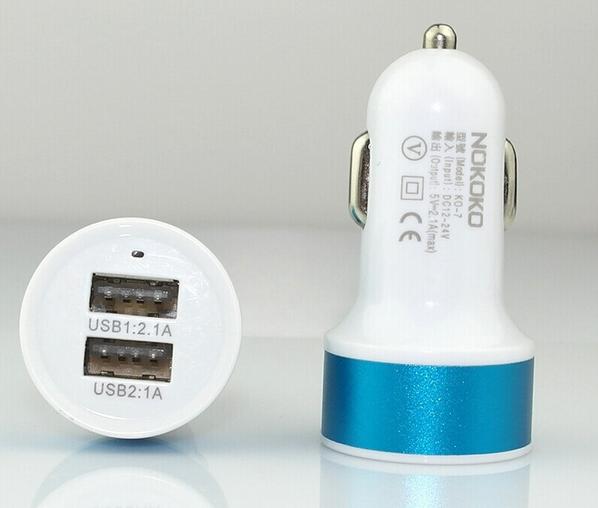 Автомобильное зарядное утройство EGGO 2 USB 2.1A White/Blue