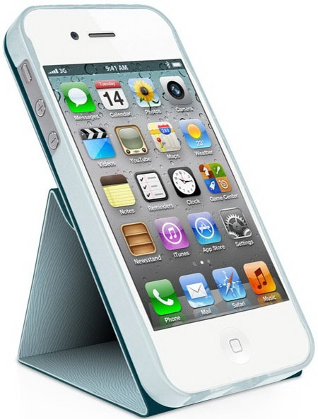 Чехол Macally SSTANDBL-P5 для iPhone 5/5S/SE (Голубой)