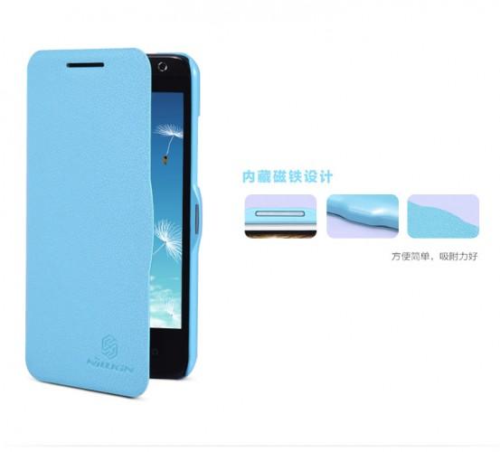 Кожаный чехол (книжка) Nillkin Fresh Series для HTC Desire 300 (Голубой)
