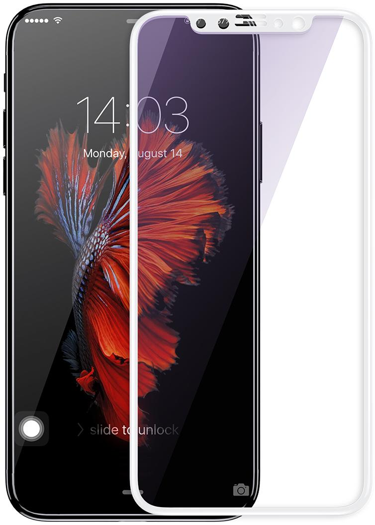Защитное стекло Baseus Silk-screen 3D Arc Protective Film для iPhone X White