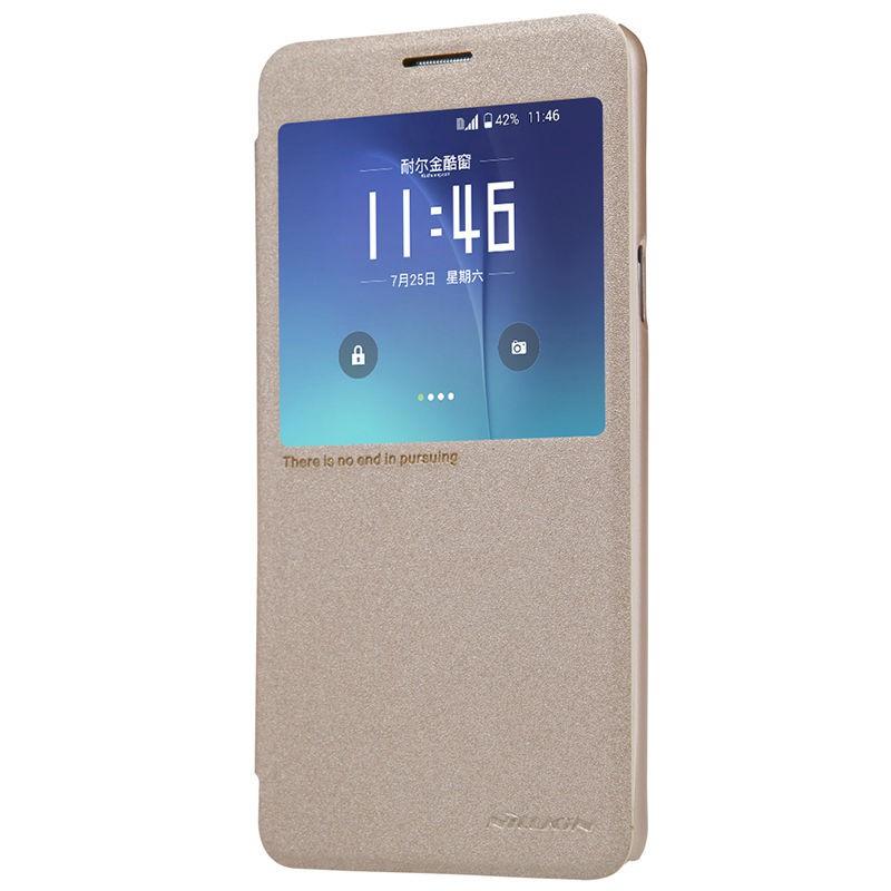 Кожаный чехол (книжка) Nillkin Sparkle Series для Samsung Galaxy Note 5 (Золотой)