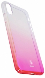 "Пластиковая накладка Baseus Glaze Ultrathin для Apple iPhone X (5.8"") (Розовый / Transparent pink) (WIAPIPHX-GC04)"