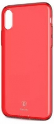 "TPU чехол Baseus Simple Ultrathin для Apple iPhone X (5.8"") с заглушкой (Красный / Transparent Red) (ARAPIPHX-A09)"