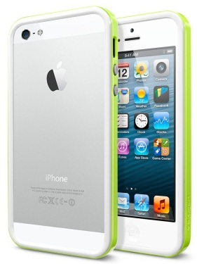 Бампер SGP Neo Hybrid EX Slim Snow Series для Apple iPhone 5/5S (+ пленка) (Лайм / Lime) - ITMag