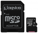 Kingston 64 GB microSDXC Class 10 UHS-I Canvas Select + SD Adapter SDCS/64GB