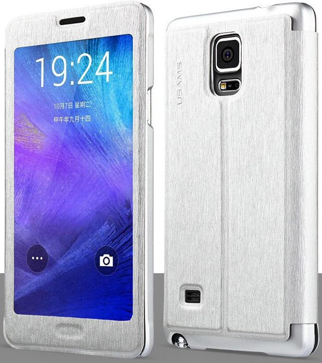 Чехол USAMS Touch Series Leather Case for Samsung Galaxy Note 4 w/ APP Smart Dormancy - Silver