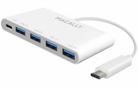Macally USB трех портовый USB 3.1 / 3.0 c зарядным USB-C портом (UC3HUB4C)