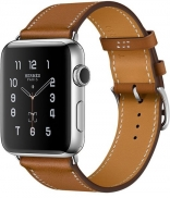 Apple Watch Series 2 Hermes 42mm Stainless Steel Case with Fauve Barenia Leather Single Tour Band (MNQC2)