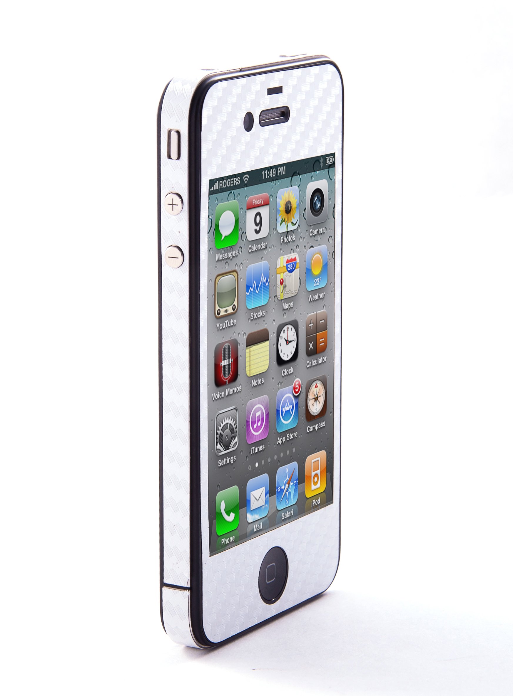 Наклейка защитная EGGO iPhone 4/4S Carbon Fiber White FullBody