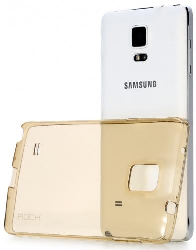 TPU чехол ROCK Slim Jacket для Samsung N910H Galaxy Note 4 (Золотой / Transparent Gold)