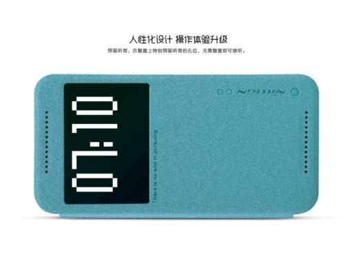 Кожаный чехол (книжка) Nillkin Sparkle Series для HTC One / M9 (Бирюзовый)