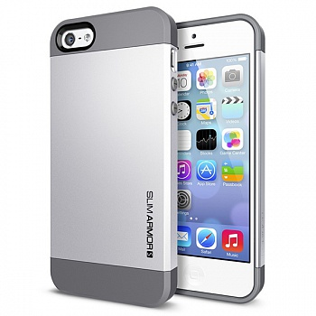 Пластиковая накладка SGP iPhone 5S/5 Case Slim Armor S Satin Silver (SGP10476) - ITMag
