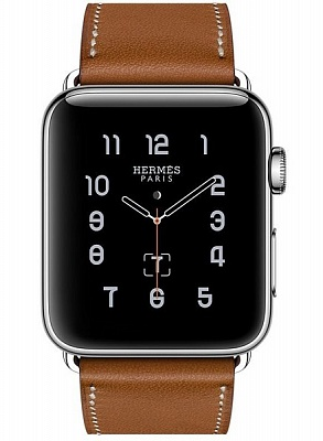 Apple Watch Series 2 Hermes 42mm Stainless Steel Case with Fauve Barenia Leather Single Tour Band (MNQC2) - ITMag