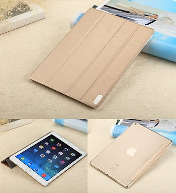 Чехол USAMS Viva Series for iPad Air 2 Slim Four-fold Stand Smart Leather Case - Gold - ITMag