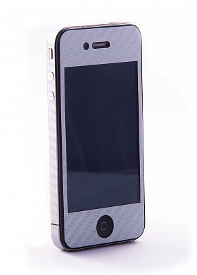 Наклейка защитная EGGO iPhone 4/4S Carbon Fiber Silver FullBody - ITMag