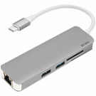 WIWU Adapter T4 USB-C to USB-C+RJ45+SD+2xUSB3.0 HUB Gray (6957815504817) - ITMag