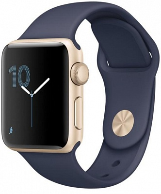 Apple Watch Series 1 38mm Gold Aluminum Case with Midnight Blue Sport Band (MQ102) - ITMag