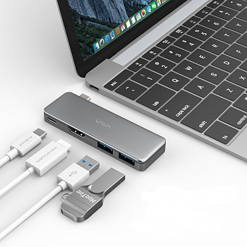 VAVA USB C Hub Adapter with 3.1 Power Delivery, HDMI Port, 2 USB 3.0 Ports for Type C Laptops (VA-UC003) - ITMag