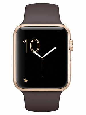Apple Watch Series 2 42mm Gold Aluminum Case with Cocoa Sport Band (MNPN2) - ITMag