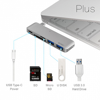 WIWU Adapter С1 Plus USB-C to USB-C+SD+2xUSB3.0 HUB Gold (6957815503797) - ITMag