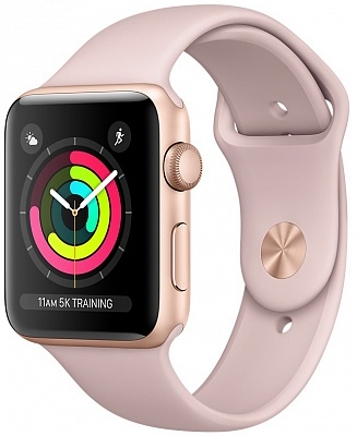 Apple Watch Series 3 GPS 38mm Gold Aluminum w. Pink Sand Sport B. - Gold (MQKW2) - ITMag