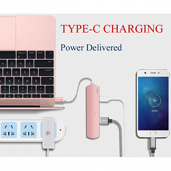WIWU Adapter T2 Plus USB-C to USB-C+microSD+SD+2xUSB3.0 HUB Rose Gold - ITMag