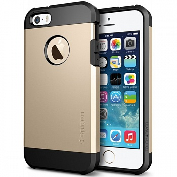 Пластиковая накладка SGP iPhone 5S/5 Case Tough Armor Series Champagne Gold (SGP10584) - ITMag