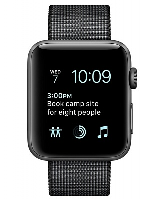 Apple Watch Series 2 38mm Space Gray Aluminum Case with Black Woven Nylon Sport Band (MP052) - ITMag