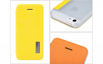 Чехол (книжка) Rock Elegant Series для Apple iPhone 5/5S (Желтый / Yellow) - ITMag