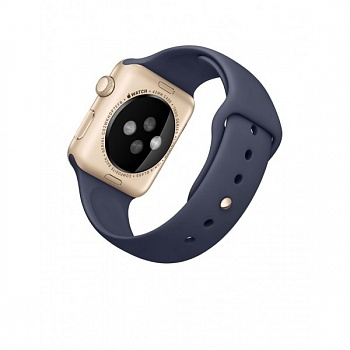 Apple Watch Sport 42mm Gold Aluminum Case with Midnight Blue Sport Band (MLC72) - ITMag