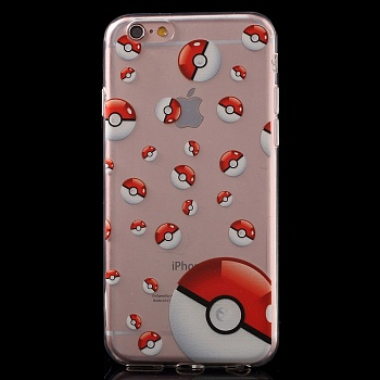 TPU чехол EGGO Pokemon Go для iPhone 6/6S (Poke Balls (прозрачный)) - ITMag