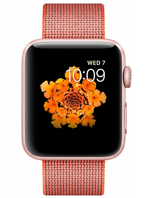 Apple Watch Series 2 42mm Rose Gold Aluminum Case with Space Orange/Anthracite Woven Nylon Band (MNPM2) - ITMag