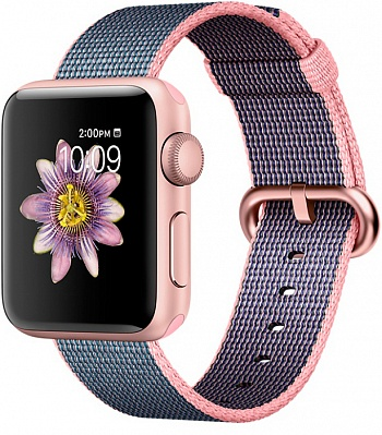 Apple Watch Series 2 38mm Rose Gold Aluminum Case with Light Pink/Midnight Blue Woven Nylon Band (MNP02) - ITMag
