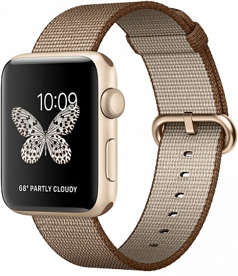 Apple Watch Series 2 42mm Gold Aluminum Case with Toasted Coffee/Caramel Woven Nylon Band (MNPP2) - ITMag