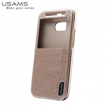 Чехол USAMS Merry Series for HTC One M8 Smart Leather Stand Champagne Gold - ITMag