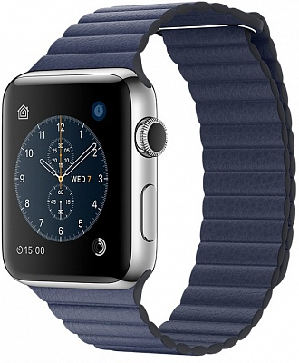 Apple Watch Series 2 42mm Stainless Steel Case with Midnight Blue Leather Loop Band (MNPW2) - ITMag