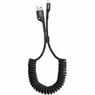 Кабель Lightning Baseus USB Cable to Lightning Fish Eye Spring 1m Black (CALSR-01) - ITMag