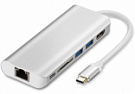 WIWU Adapter H1 Plus USB-C to USB-C+RJ45+HDMI+SD+3xUSB3.0 HUB Silver (6957815504596) - ITMag