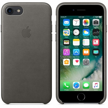 Apple iPhone 7 Leather Case - Storm Gray MMY12 - ITMag
