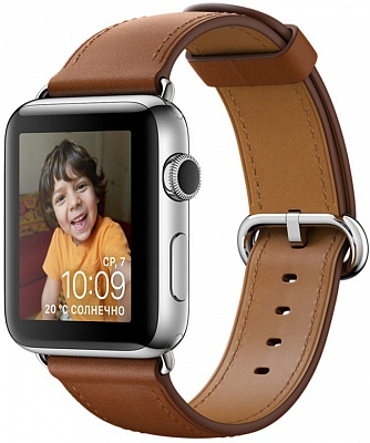 Apple Watch Series 2 42mm Stainless Steel Case with Saddle Brown Classic Buckle Band (MNPV2) - ITMag