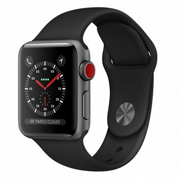 Apple Watch Series 3 GPS + Cellular 38mm Space Gray Aluminum w. Black Sport B. (MQJP2) - ITMag