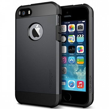 Пластиковая накладка SGP iPhone 5S/5 Case Tough Armor Series Smooth Black (SF coated) (SGP10492) - ITMag